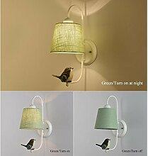 LLW Stoff Lampenschirm Wandleuchte mit Vogel