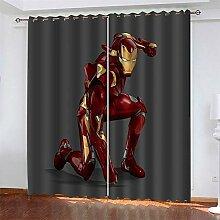 LLWERSJ Gardinen Blickdicht Avengers Iron Man