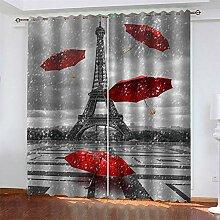 LLWERSJ Gardinen Blickdicht Eiffelturm Regenschirm