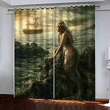 LLWERSJ Gardinen Blickdicht Segelnde Meerjungfrau