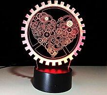 Llwmn Nachttischlampen Farbe Lampe 3D Love Gear