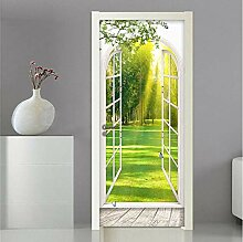LLWYH Türaufkleber 3D-Fenster Sonnenlicht Grüner