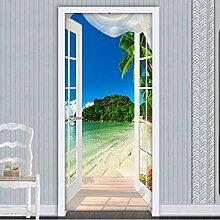 LLWYH Türaufkleber 3D-Fenster Strand Meer