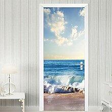 LLWYH Türaufkleber 3D Strand Meer Landschaft
