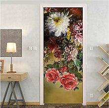 LLWYH Türaufkleber Blumentür 3D Schlafzimmer