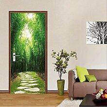 LLWYH Türaufkleber Grüne Waldlandschaftstür