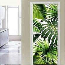 LLWYH Türaufkleber Tür Grünes Blatt Wohnzimmer