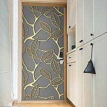 LLWYH Türaufkleber Türplakat 3D Goldene Blätter