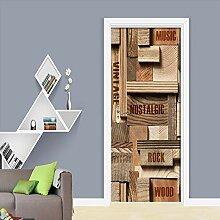 LLWYH Türaufkleber Türplakat 3D Holz Englisch