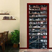 LLWYH Türaufkleber Türtapete 3D Bücherregal