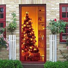 LLWYH Türaufkleber Türtapete 3D Weihnachtsbaum