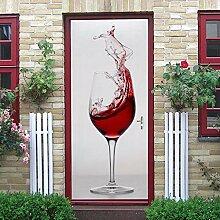 LLWYH Türaufkleber Türtapete 3D Weinglas