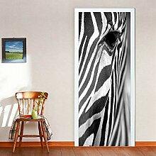LLWYH Türaufkleber Türtapete 3D Zebra Augen