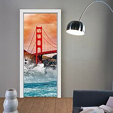 LLWYH Türaufkleber Türtapete Golden Gate Bridge