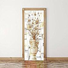 LLWYH Türaufkleber Türtapete Goldene Vase