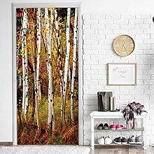 LLWYH Türaufkleber Türtapete Herbstwald 3D