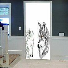 LLXHG 3D Innentür Türaufkleber Wolf 3D