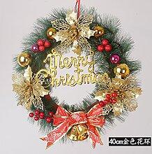 Llxln Weihnachtsbaum Kranz Tür Hängenden Szene Dekorieren 40 Cm Gold