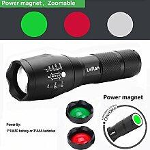 LlysColors 5 Modus Zoombar Taschenlampe Rot / Grün / Weißlicht LED Taschenlampe Fackel mit Magnet für Outdoor, Camping, Nachtfischen, Nachtreiten, Notfälle(Mehrfarbig mit Magnet)