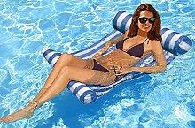 Lmeison Premium Planschbecken Schwimmbecken Hängematte Lounge, Komfortable Pool Liege (blau)