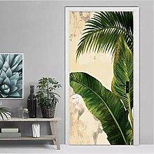 LMTQAZQ 3D Tür Aufkleber Tropische Pflanze Grüne