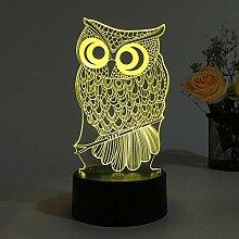 LNHYX Eule 3D Lampe Nachtlicht Für Kinder Rgb