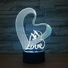 LNHYX Love 7Color 3D Nachtlicht Romantische
