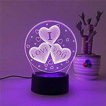 LNHYX Neuheit Geschenk Liebe Herz Paare 3D Lampe
