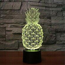 LNLZ Ananas 3D-Licht Bunte Note Aufladung LED