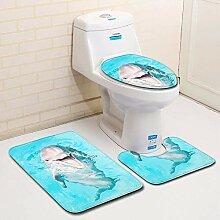 LNTE Badematten-Set, Anti-Rutsch-Badteppich für