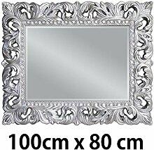 Lnxp Wandspiegel 100x80 cm in Silber Antik Barock