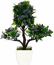 Lo + deModa Bonsai Baum lila Pflanze Deko mit Vase, Kunststoff, mehrfarbig, 32x 8x 0.22cm