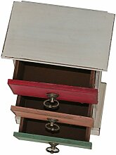 Lo + deModa Vintage Retro Mini Schrank, Holz, mehrfarbig, 32x 19x 1.84cm