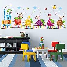 Loaest 'S Cartoon Schlafzimmer Kinderzimmer Wandaufkleber Schule Kindergarten Aktivitäten Aufkleber Entfernen Kann Obst Kleiner Zug