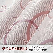 Loaest 3D-Feste Schwarze Und Weisse Kreis Vlies Tapete Modernen Minimalistischen Schlafzimmer Wohnzimmer Fernseher Wand Tapete Light Pink