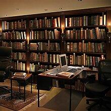 Loaest 3D - Stereoskopische Bücherregal, Bücherregal, Große Tapete, Kunst - Freizeit - Café, Wohnzimmer Mit Sofa, Büro Hintergrund Tapete,Hohe Qualität Importierter Leinwand (Ganze),Tapete Nur
