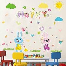 Loaest Baby Kaninchen Karikatur Aufkleber Kinderzimmer Wand Dekoration Echten Kindergarten Wandaufklebern Kreative Abnehmbaren Klebstoff
