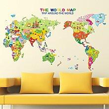 Loaest Cartoon Tier Aufkleber Karte Kinderzimmer Wand Dekoration Aufkleber Kindergarten Layout Heimtextilien Selbstklebende Sticker Cartoon Tier Karte Große