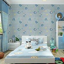 Loaest Einfache Moderne Im Europäischen Stil Tapete Mit Eingedicktem Selbstklebende Pvc Kleber Schlafzimmer Wohnzimmer Wurde Das Fernsehen Hintergrund Tapete Wand 0,45 Mx 10 M Blau Bunny