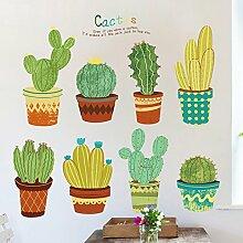 Loaest Garten Frische Kaktus Hintergrund Wall Sticker Hand Gezeichnet Blumentopf Pflanzen Topfpflanzen Treppe Flur Dekoration Aufkleber