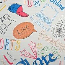 loaest Glow in the Dark Luminous Tapete für Jungen Kinderzimmer Kinder Schlafzimmer Cartoon Fußball Sport Modern themenbezogene Wand Papier Rolle, c02702, 5,3m²
