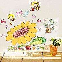 Loaest Kinder'S Cartoon Wand Aufkleber Drei Generation Schlafzimmer Kindergarten Anordnung Der Kleinen Biene Sun Flower Sticker Entfernen