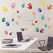 Loaest Kreative Farbe Handprint Wallpaper Aufkleber Kinder Zimmer Doppelbett Schlafzimmer Wand Dekoration Selbstklebende Sticker Kindergarten