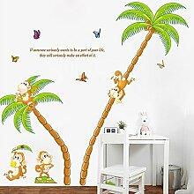 Loaest Naughty Aufkleber Monkey Kinderzimmer Dekoration Aufkleber Cartoon Palm Kindergarten Klassenzimmer Hintergrund Wand Aufkleber