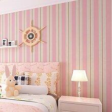 Loaest Neues Muster gestreifte Tapete, Blau und Weiß und Rosa Streifen Tapete für Wohnzimmer Betten Zimmer, Rosa, 5,3 qm.
