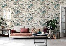 loaest Pastoral Style Grün Tapete Wohnzimmer Schlafzimmer Home Dekoration Blumen und Vögel drucken 3D Tapete Wandbild Rolle