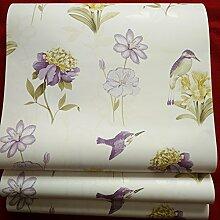 loaest Pure Papier Tapete Rolle Umweltfreundlich-Floral, Papier, für Wände 3D American Style Clivia Tapete Birds Home Raum, 5,3m²
