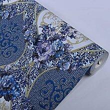 loaest Tiefenprägung europäischen Blume blau Tapete Vinyl Wohnzimmer Sofa Wand Dekoration Wasserdicht PVC