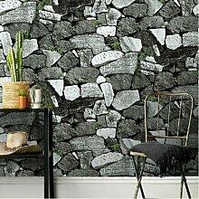 Loaest Wasserdicht Brick Stein Tapete Rollen für Wohnzimmer Vinyl 3D-Tapeten Home Decor Papel de Parede 3D Wand Papier, Stahl Grau 50661, 53cmx10M