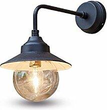 Loberon Außenwandlampe Mckayla, Messing, Glas,